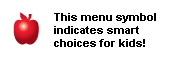 An apple - This menu symbol indicates smart choices for kids.